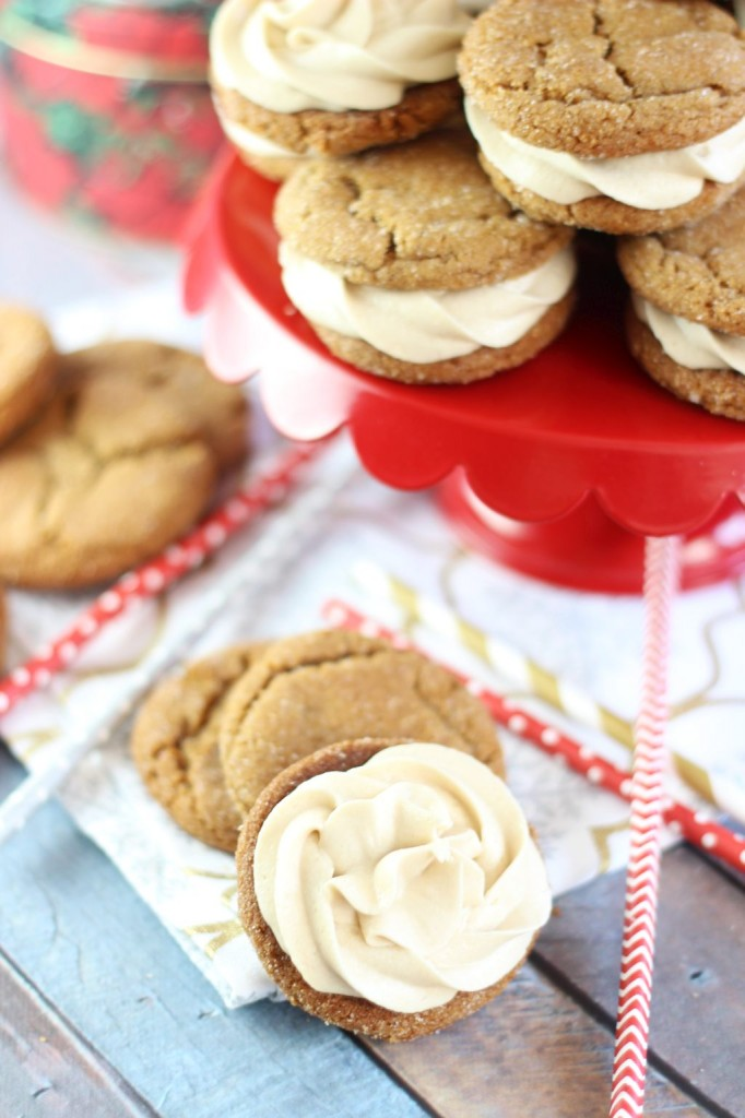 ginger cookie sandwiches with caramel buttercream 3