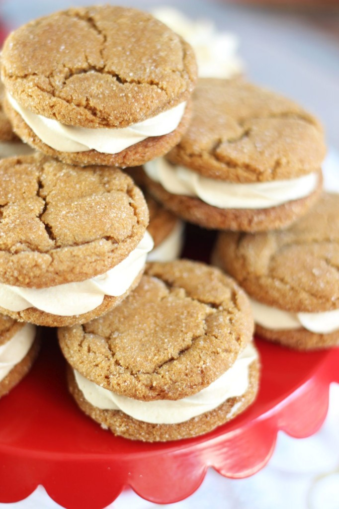 ginger cookie sandwiches with caramel buttercream 5
