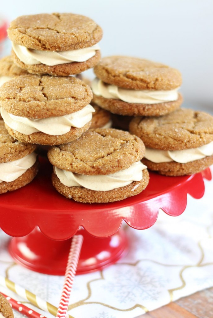 ginger cookie sandwiches with caramel buttercream 7