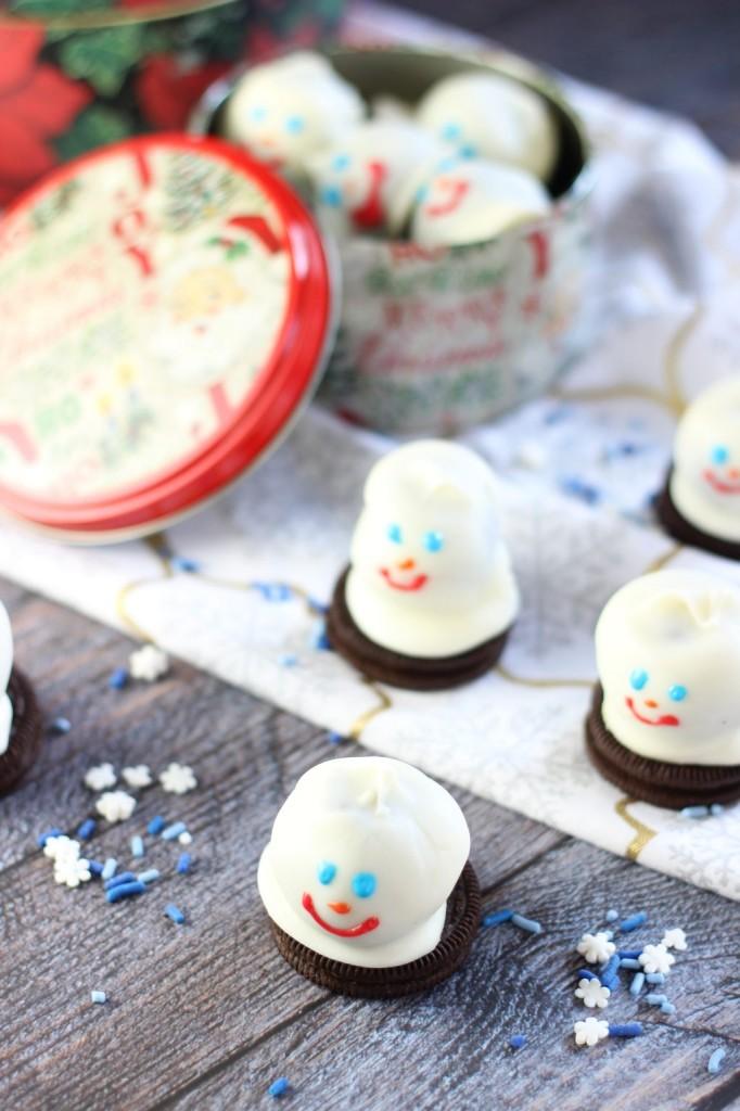 melting snowmen oreo cookie balls 3