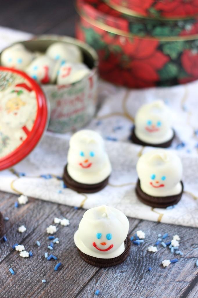 melting snowmen oreo cookie balls 5