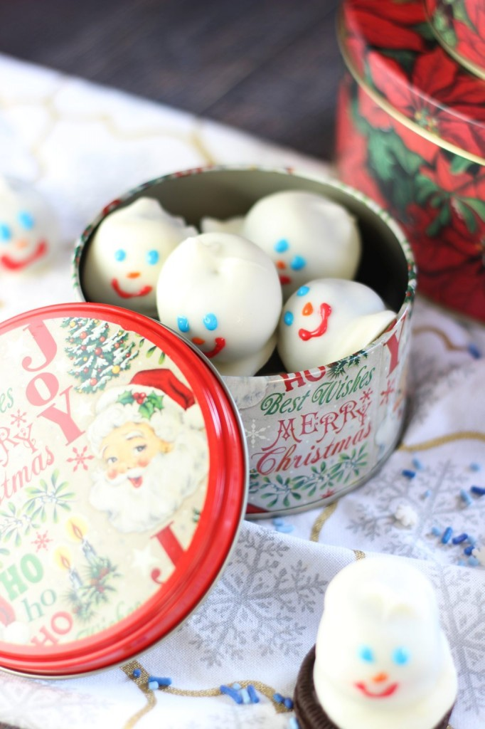 melting snowmen oreo cookie balls 6