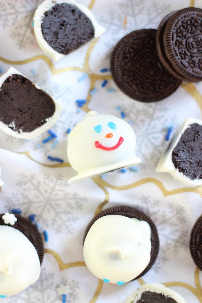 melting snowmen oreo cookie balls 8
