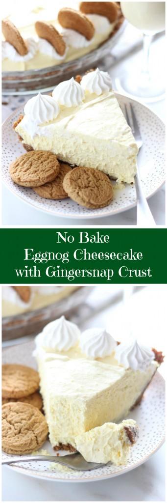 no bake eggnog cheesecake with gingersnap crust pin