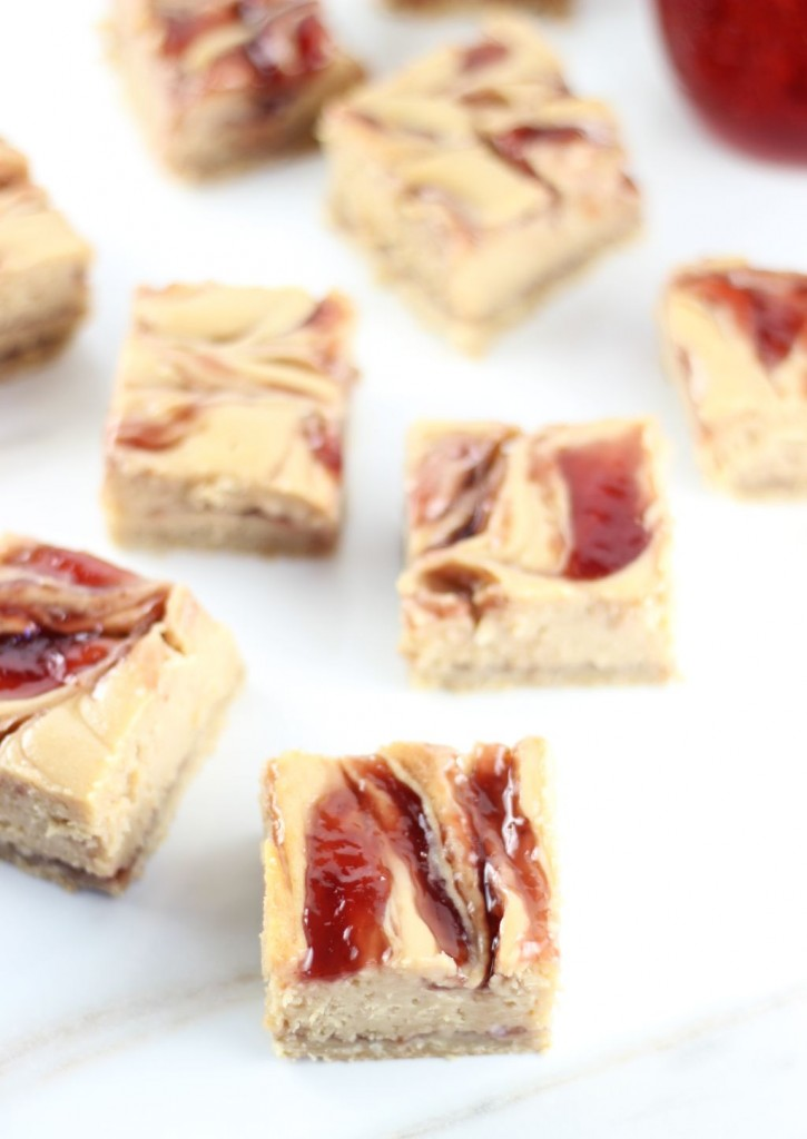 peanut butter & jelly swirl cheesecake bars 3