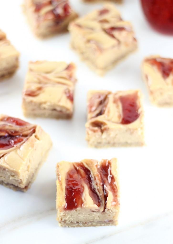 peanut butter & jelly swirl cheesecake bars 3