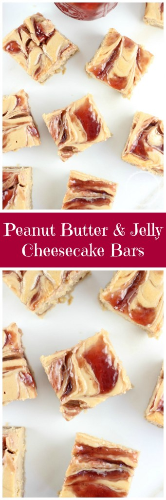 peanut butter & jelly swirl cheesecake bars pin