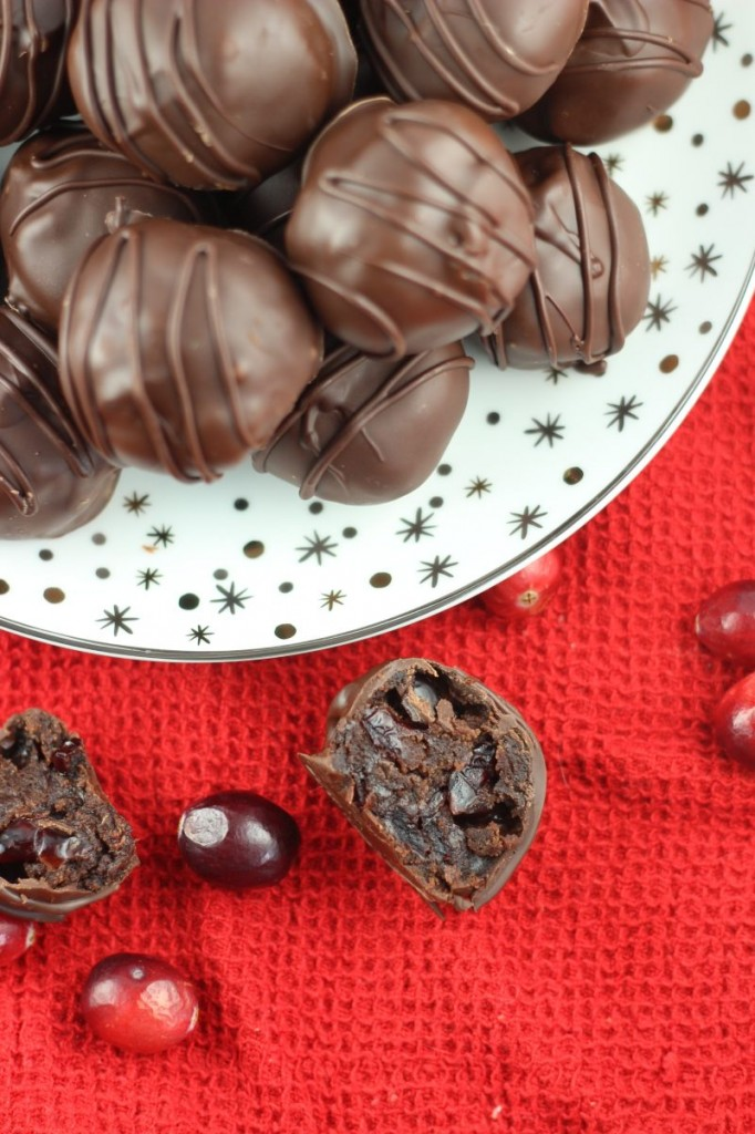 brandied cranberry brownie truffles 5