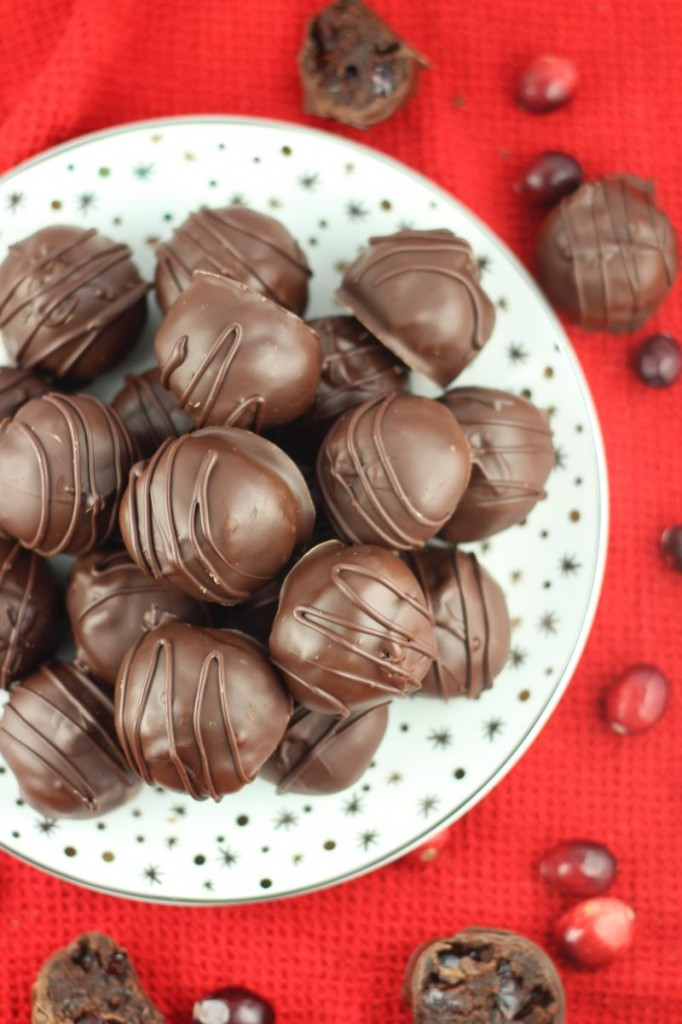 brandied cranberry brownie truffles 6
