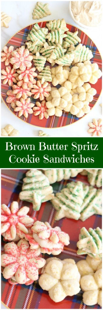 brown butter spritz cookie sandwiches pin
