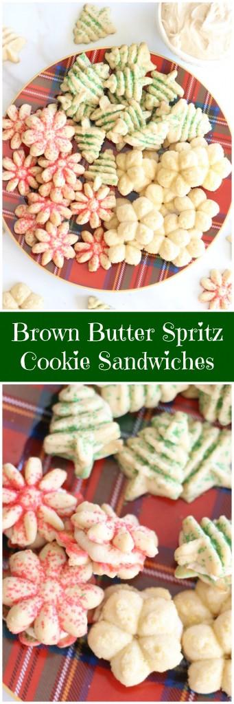 brown butter spritz cookie sandwiches pin