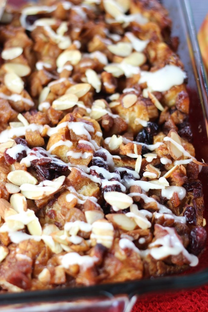 cranberry apple croissant french toast casserole with apple cider glaze 15