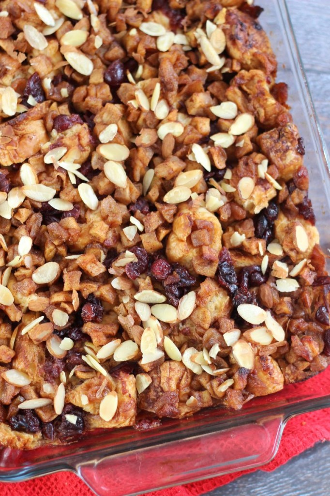 cranberry apple croissant french toast casserole with apple cider glaze 7