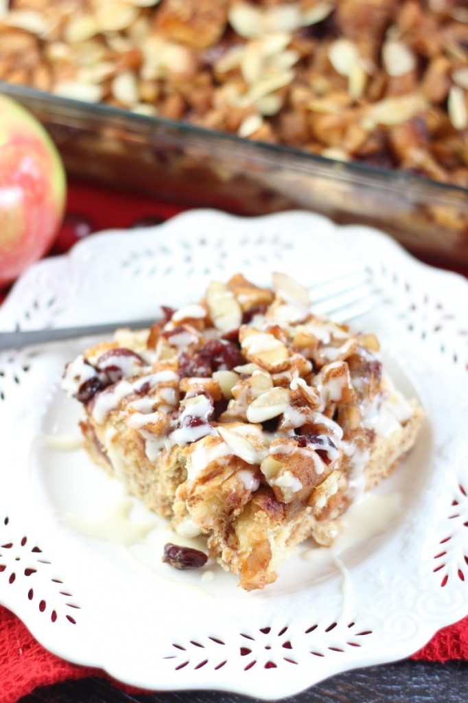 cranberry apple croissant french toast casserole with apple cider glaze 8