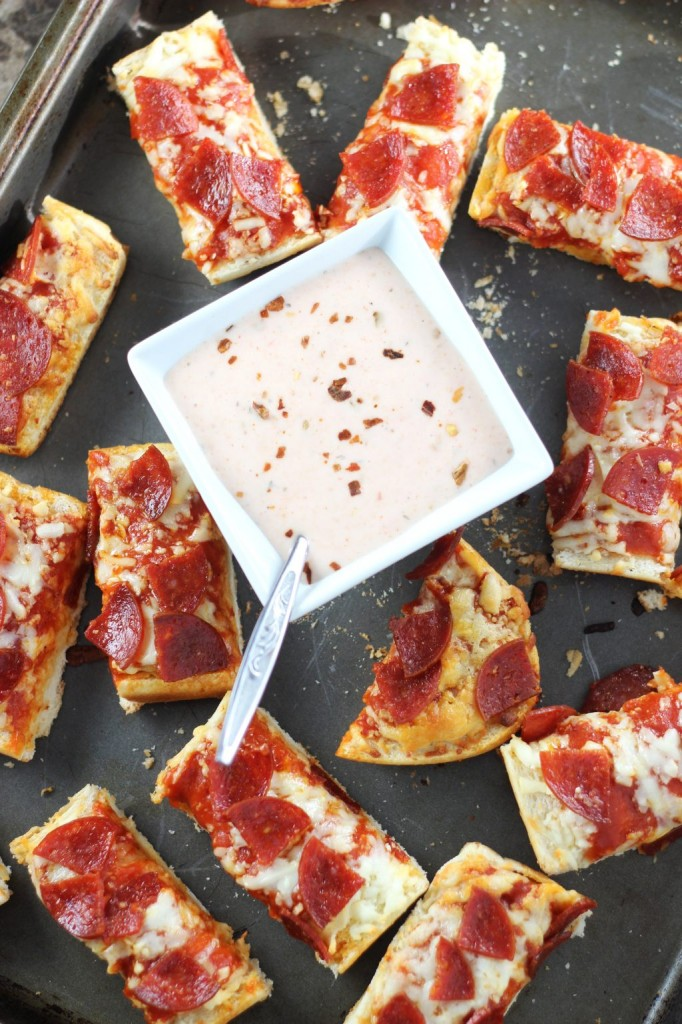 pepperoni pizza with hot ranch dipping sauce 7