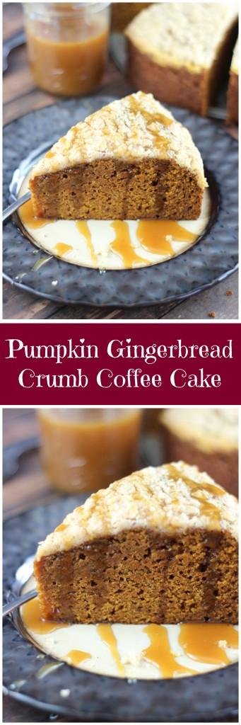 pumpkin gingerbread crumb coffee cake pin