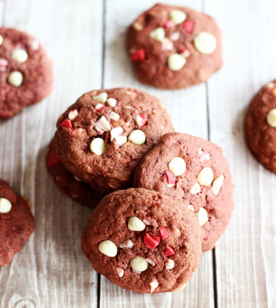 red velvet white chocolate peppermint crunch cookies 9