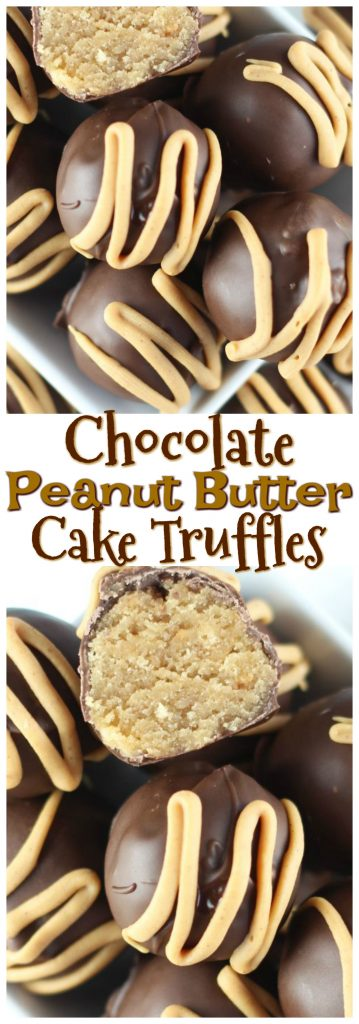 Chocolate Peanut Butter Cake Truffles pin 1