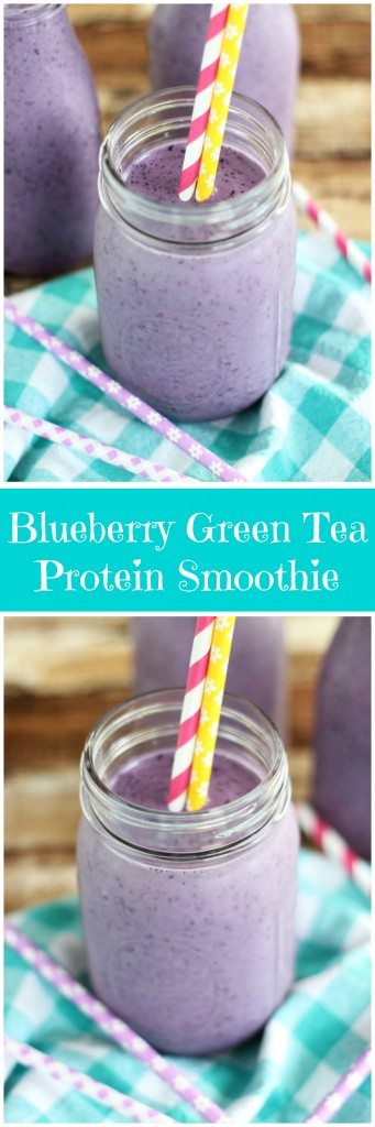 blueberry green tea protein smoothie pin