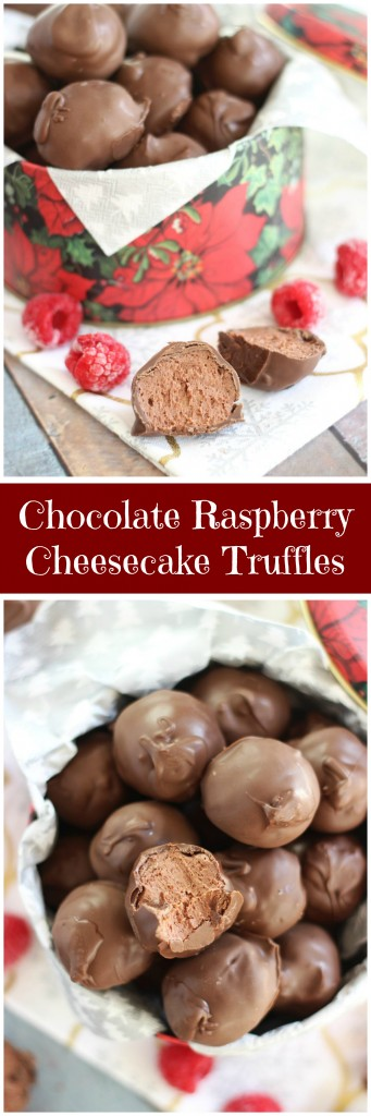 chocolate raspberry cheesecake truffles pin
