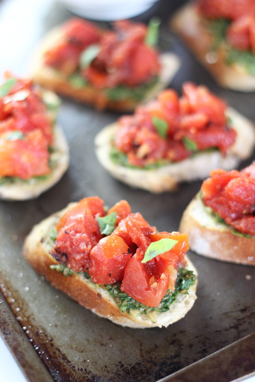... baguettes, which are topped with roasted garlic tomato Bruschetta