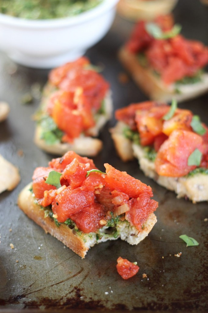 easy bruschetta with basil pesto 29
