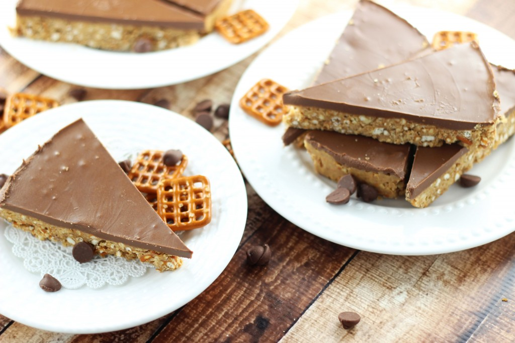 no bake chocolate peanut butter pretzel squares 3