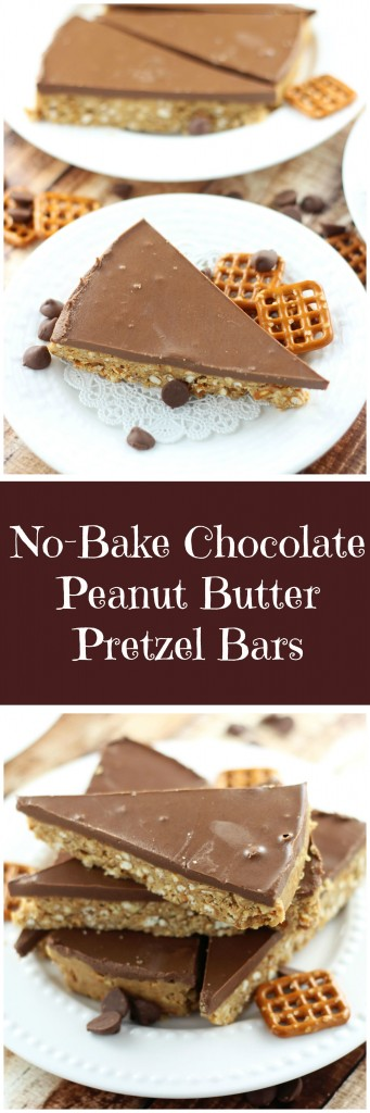 no bake chocolate peanut butter pretzel squares pin