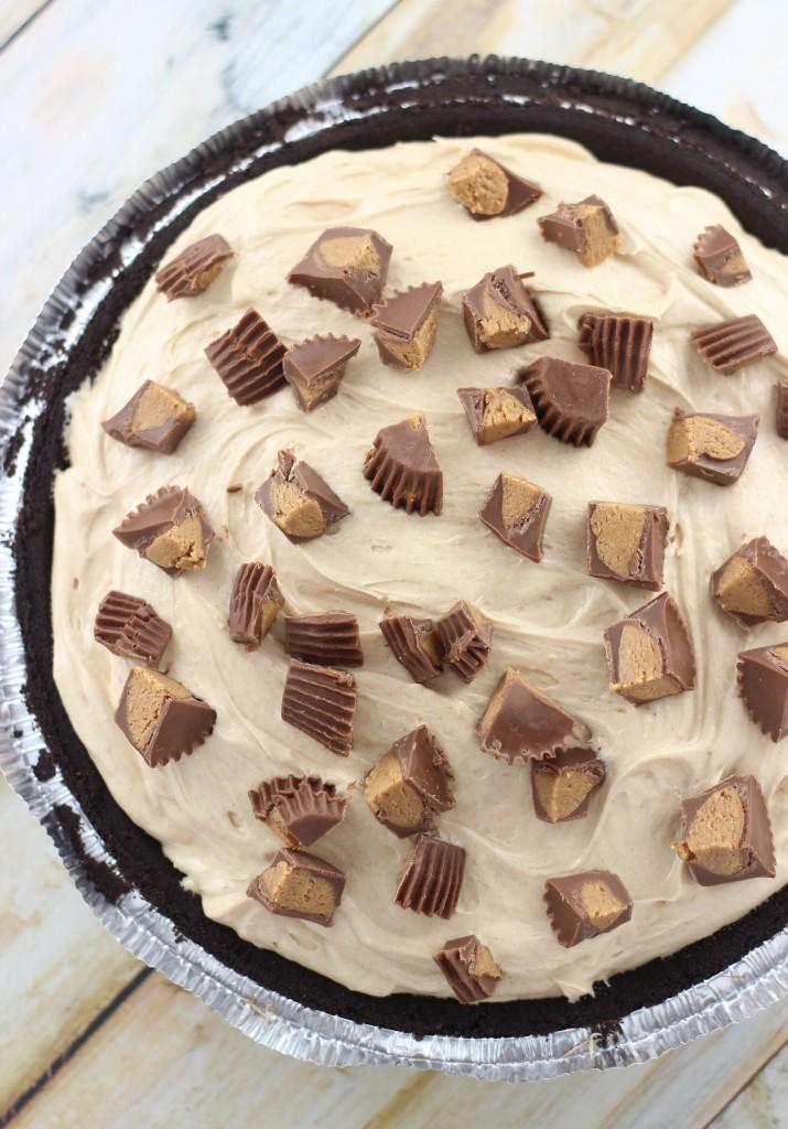 no bake peanut butter cup fudge pie 4