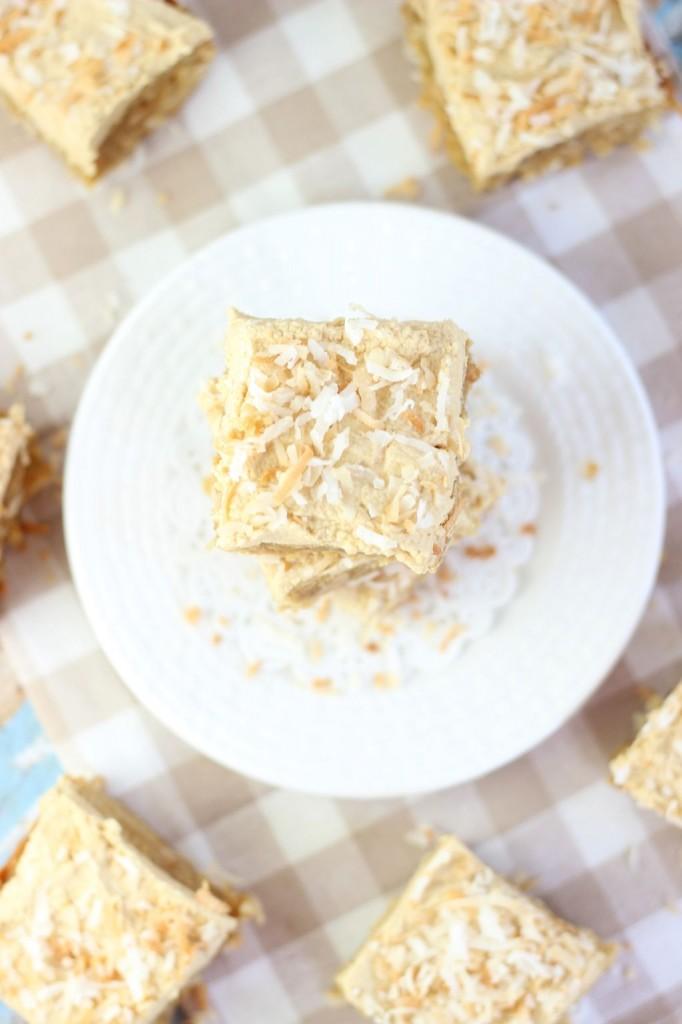 peanut butter coconut blondies 16