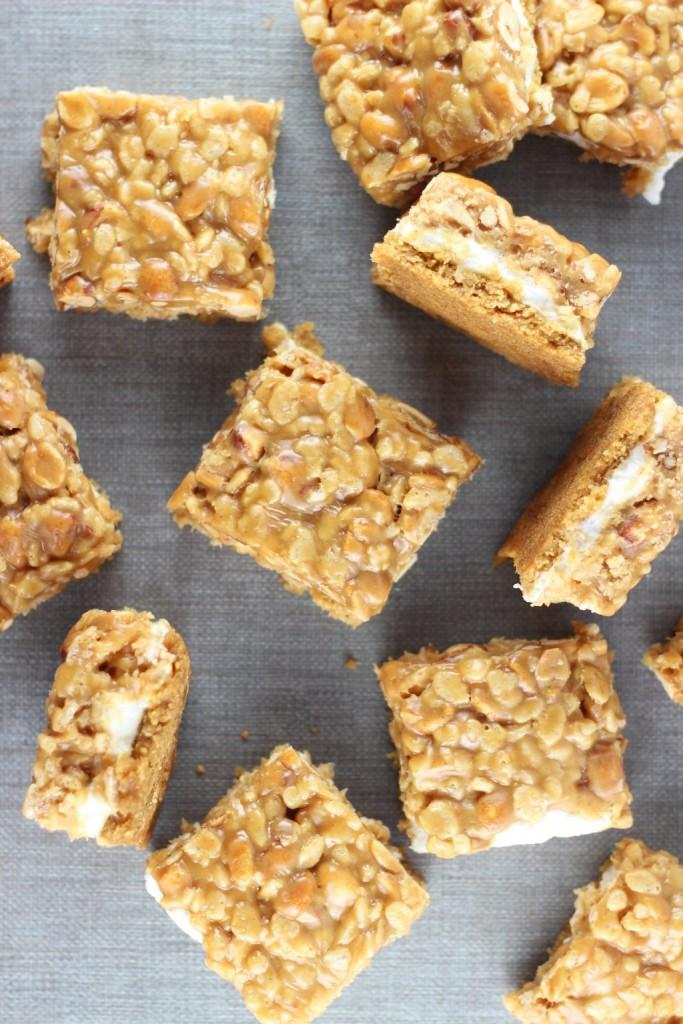 peanut butter cookie rice krispie bars 6