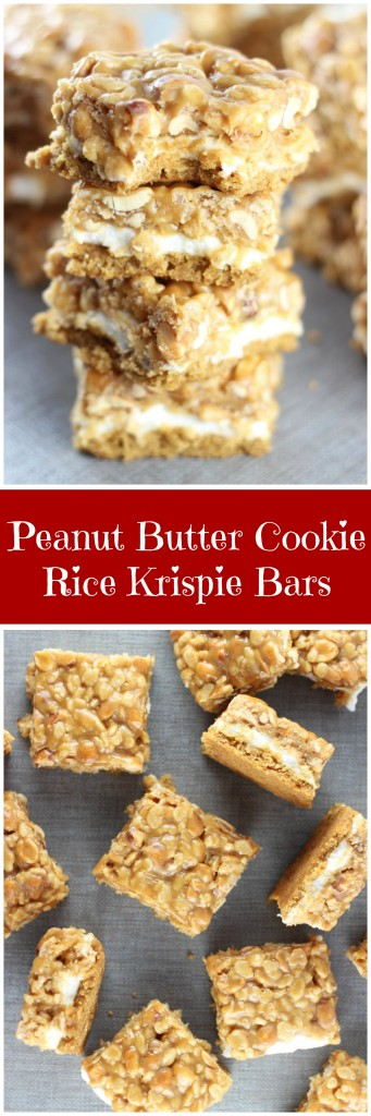peanut butter cookie rice krispie bars pin
