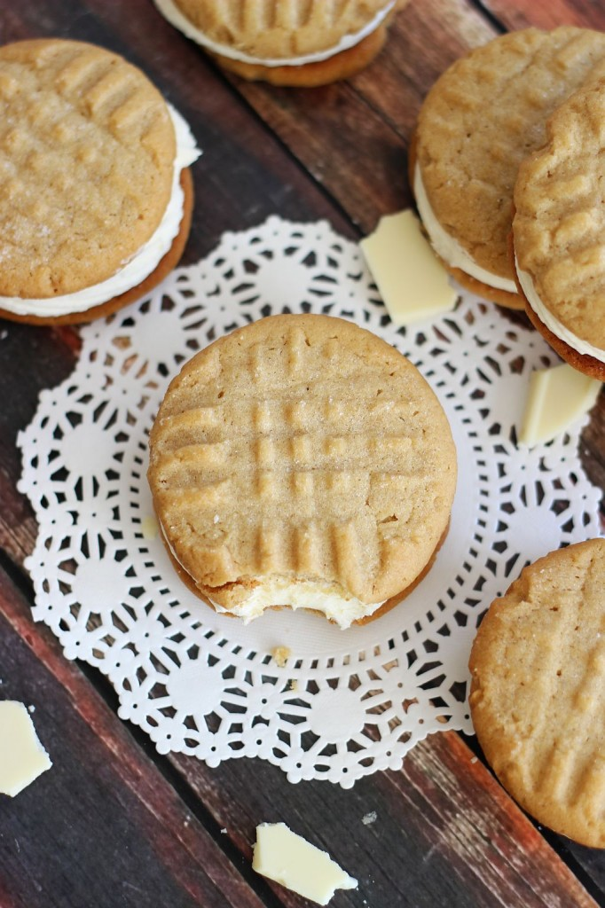 peanut butter sandwich cookies with white chocolate buttercream 2