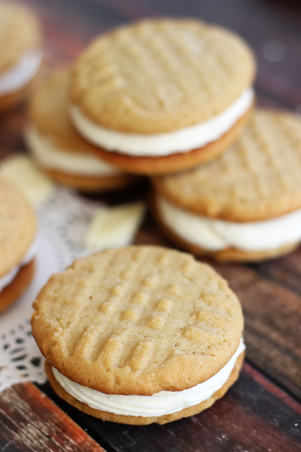 Peanut Butter Sandwich Cookies with White Chocolate Buttercream