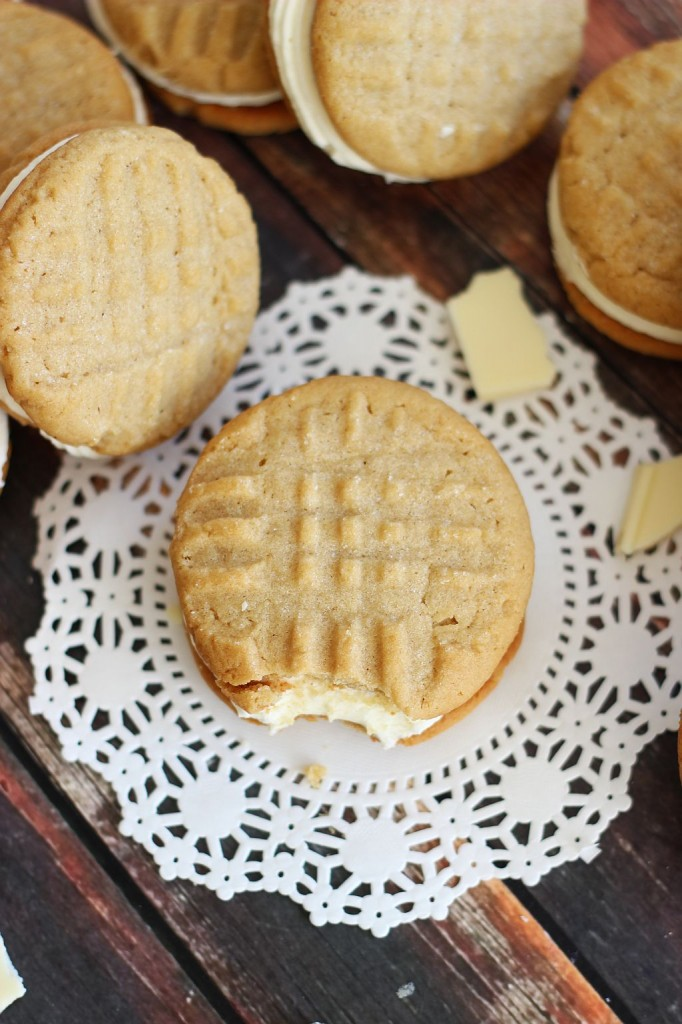 peanut butter sandwich cookies with white chocolate buttercream 6