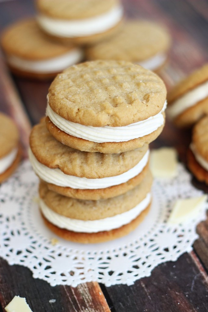 peanut butter sandwich cookies with white chocolate buttercream 9