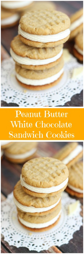 peanut butter sandwich cookies with white chocolate buttercream pin