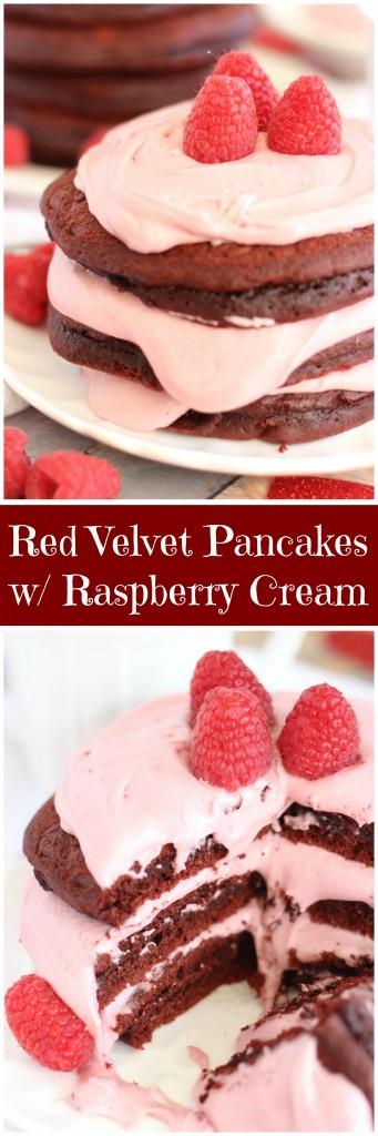 red velvet pancakes with raspberry cream pin