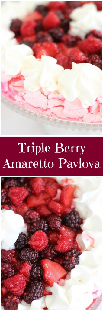 triple berry amaretto pavlova pin