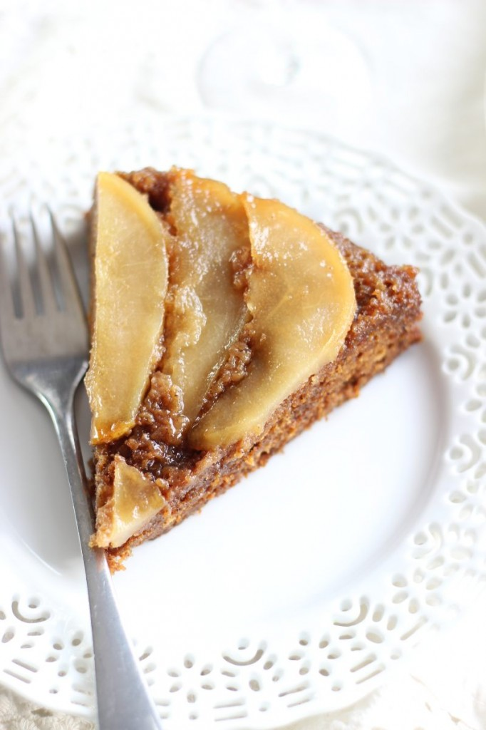 upside down pear gingerbread cake 10