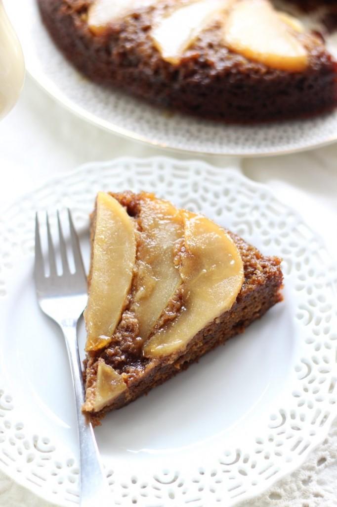 upside down pear gingerbread cake 11
