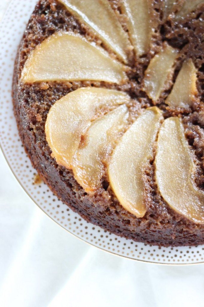 upside down pear gingerbread cake 3