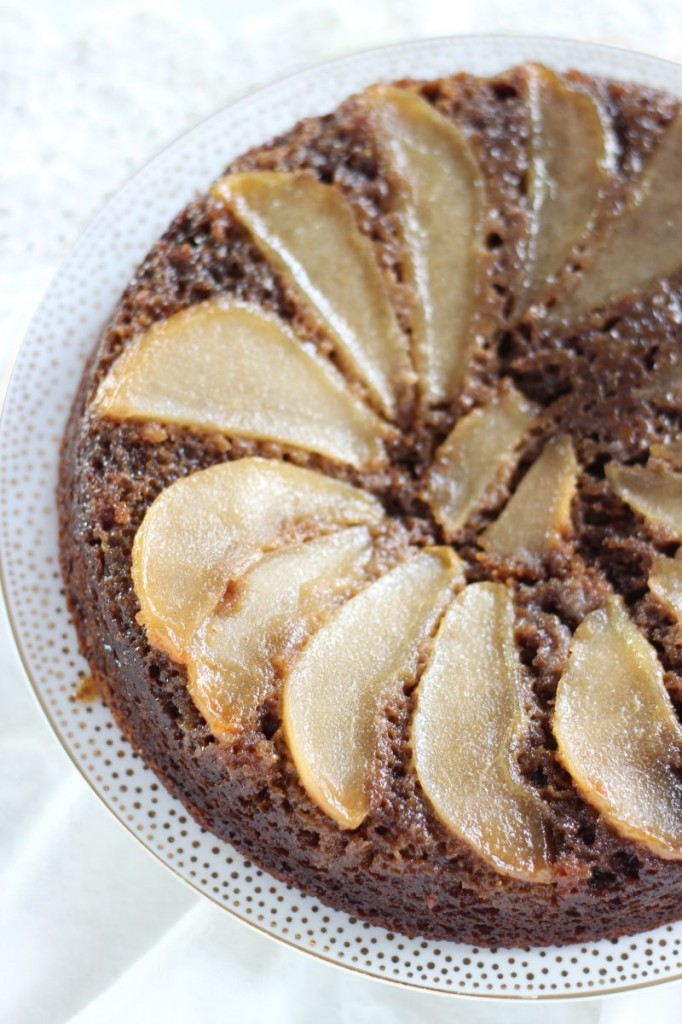 upside down pear gingerbread cake 4