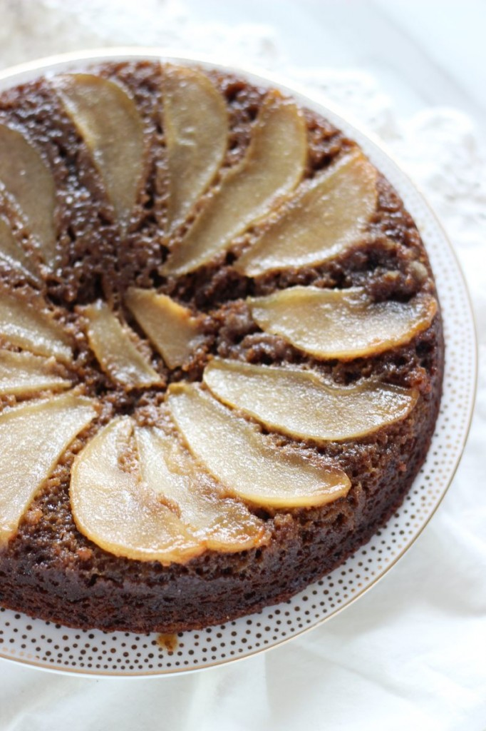 upside down pear gingerbread cake 5