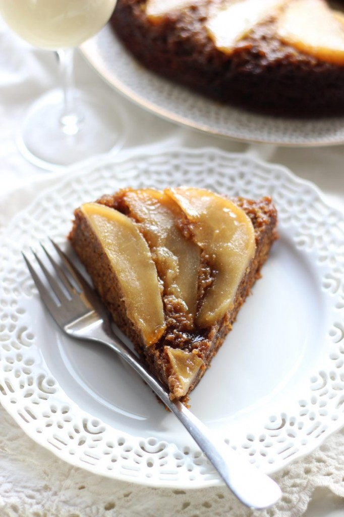 upside down pear gingerbread cake 6