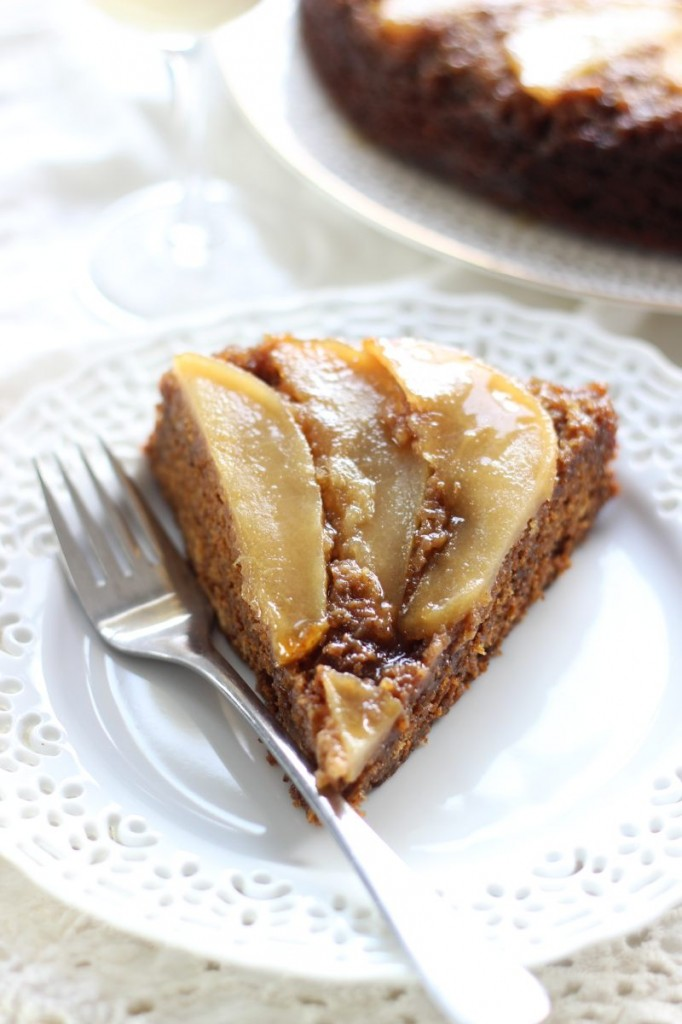 upside down pear gingerbread cake 7
