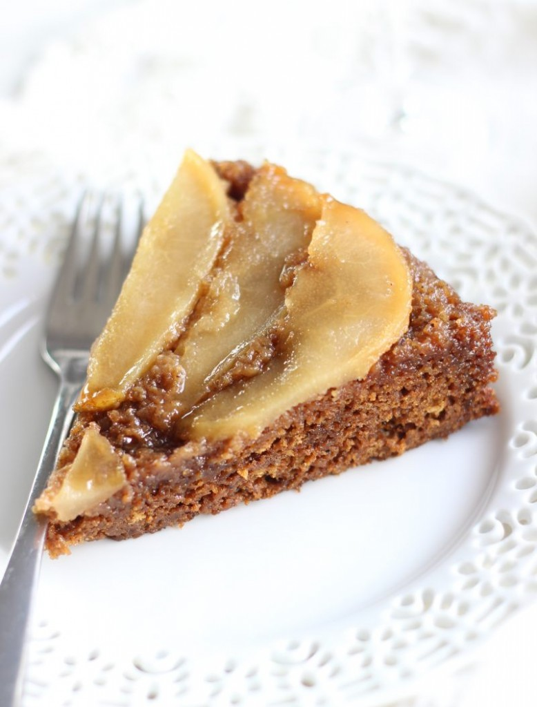 upside down pear gingerbread cake 9