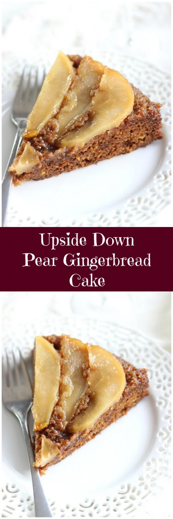 upside down pear gingerbread cake pin