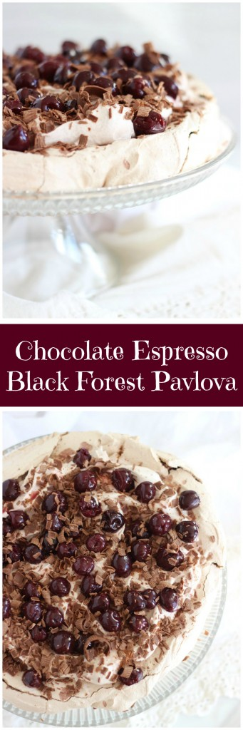 chocolate espresso black forest pavlova pin