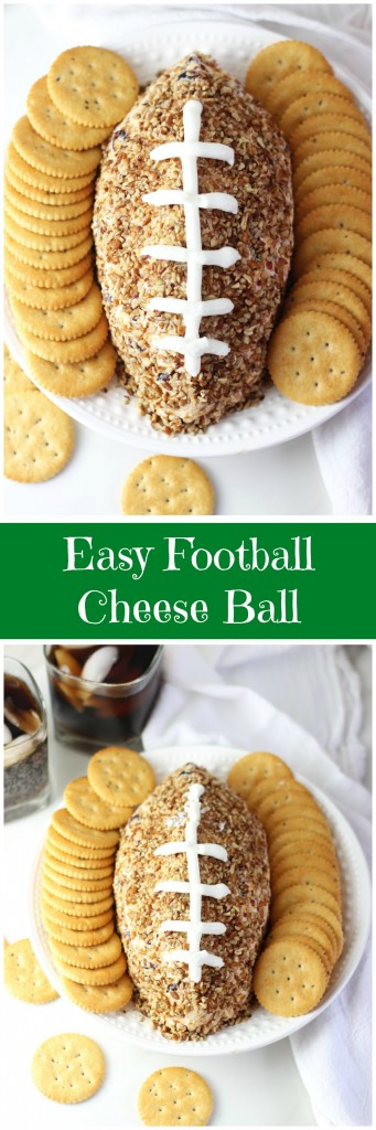 easy football cheese ball recipe pin